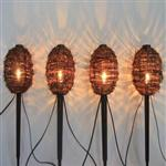 Solar Hanging and Pathway Rattan Ball String Light 4 pack
